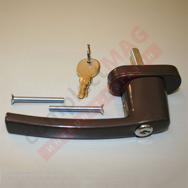 Ручка оконная металл. с ключом, штифт 40 мм (коричневая)