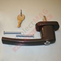 Ручка оконная металл. с ключом, штифт 35 мм (коричневая)