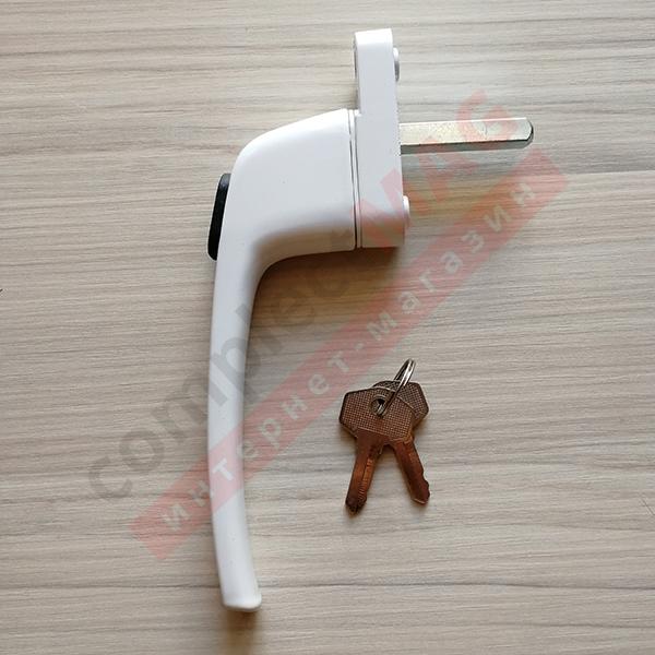 Ручка оконная узкая с ключом, штифт 35 мм (белая)