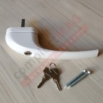Ручка оконная металл. с ключом, штифт 38 мм (белая)