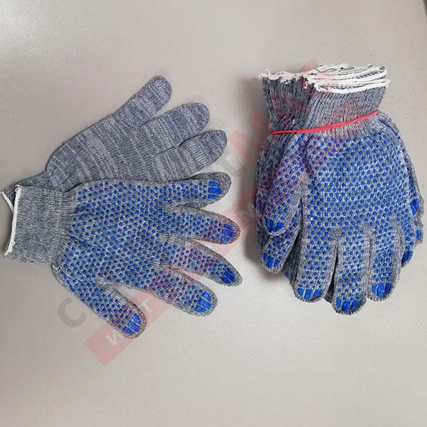 Перчатки Х/Б с ПВХ точка, 10 КЛАСС, 5 нитей серые