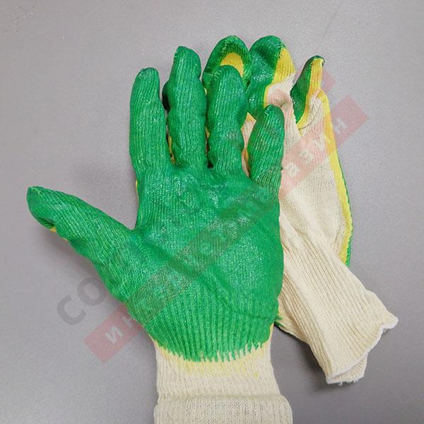 Перчатки Х/Б двойной облив, латекс, 13 КЛАСС